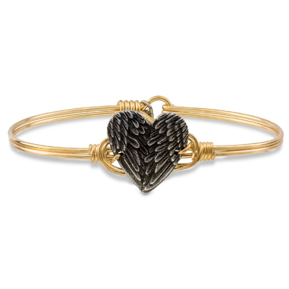 Luca + Danni Bracelet - Angel Wing Heart Bangle - Brass