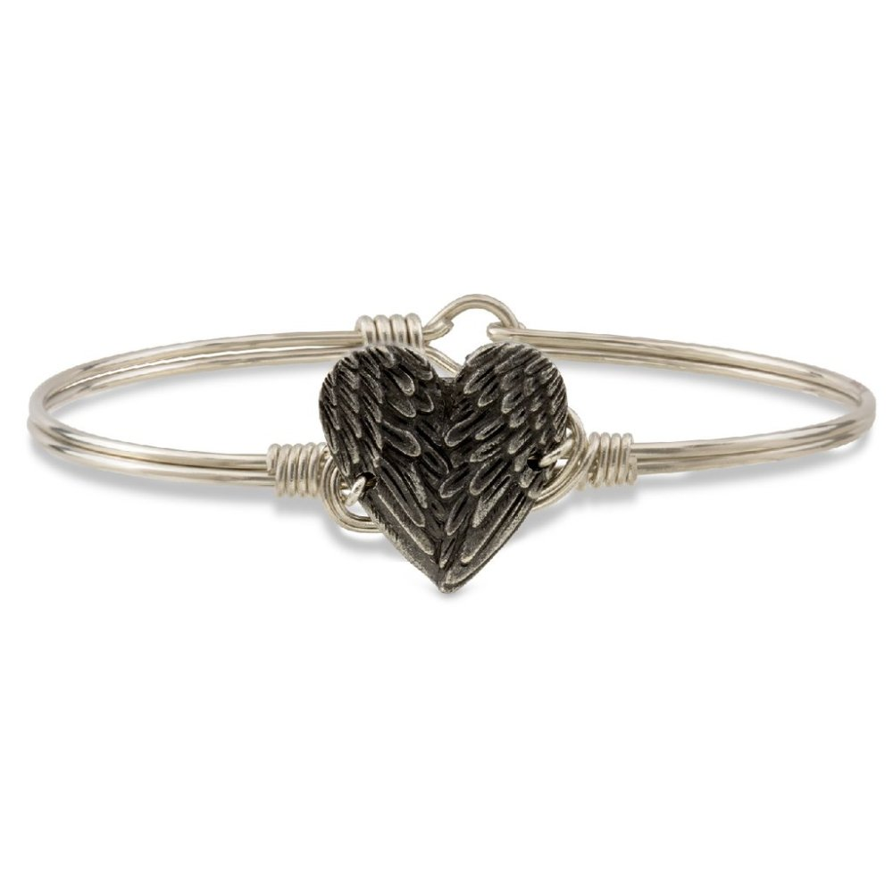 Luca + Danni Bracelet - Angel Wing Heart Bangle - Silver