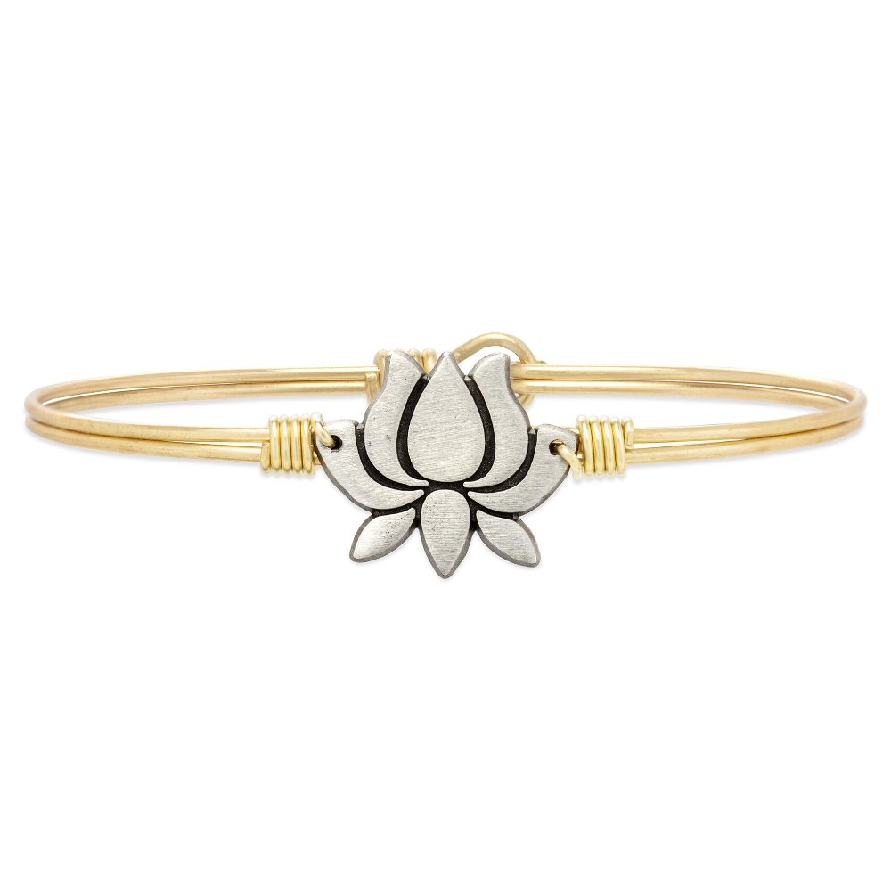 Luca + Danni Bracelet - Lotus Flower Bangle - Brass