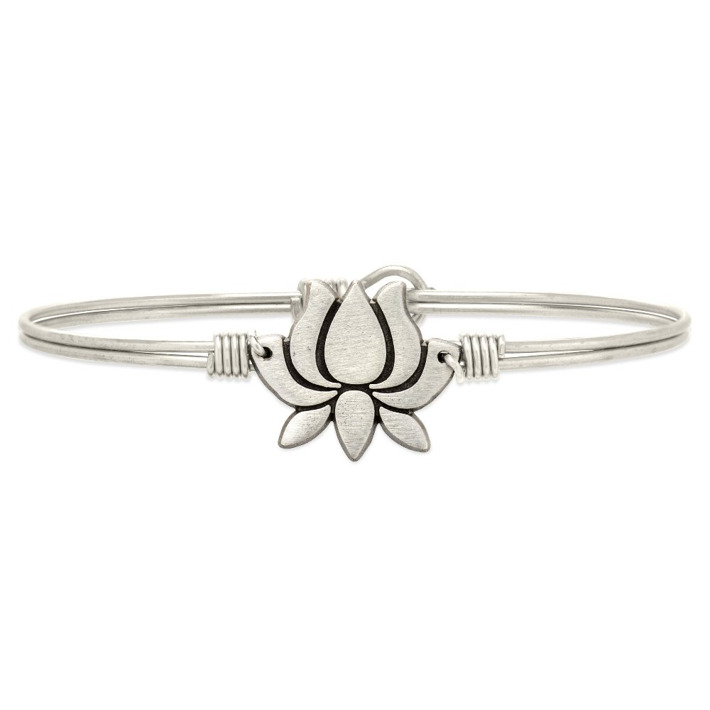 Luca + Danni Bracelet - Lotus Flower Bangle - Silver