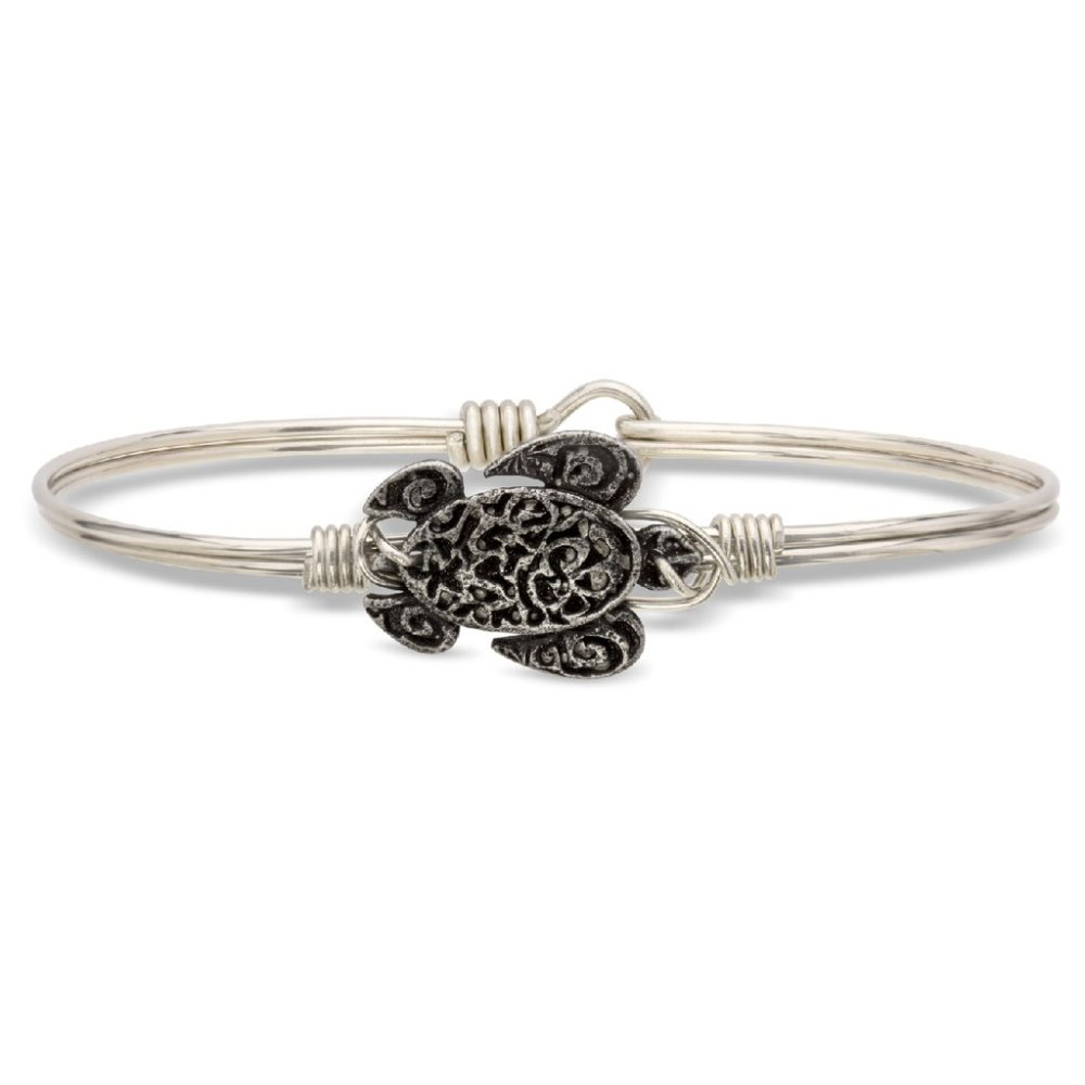 Luca + Danni Bracelet - Sea Turtle Bangle - Silver