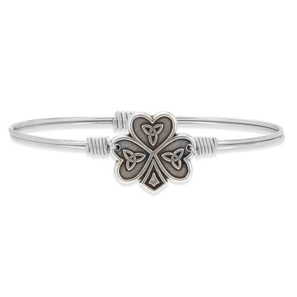 Luca + Danni Bracelet - Shamrock Celtic Knot Bangle - Silver