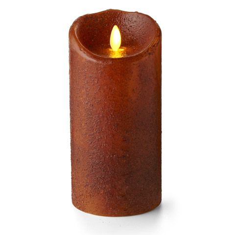 Battery Pillar Candle - Luminara LED - Yam - 7in x 3.5in