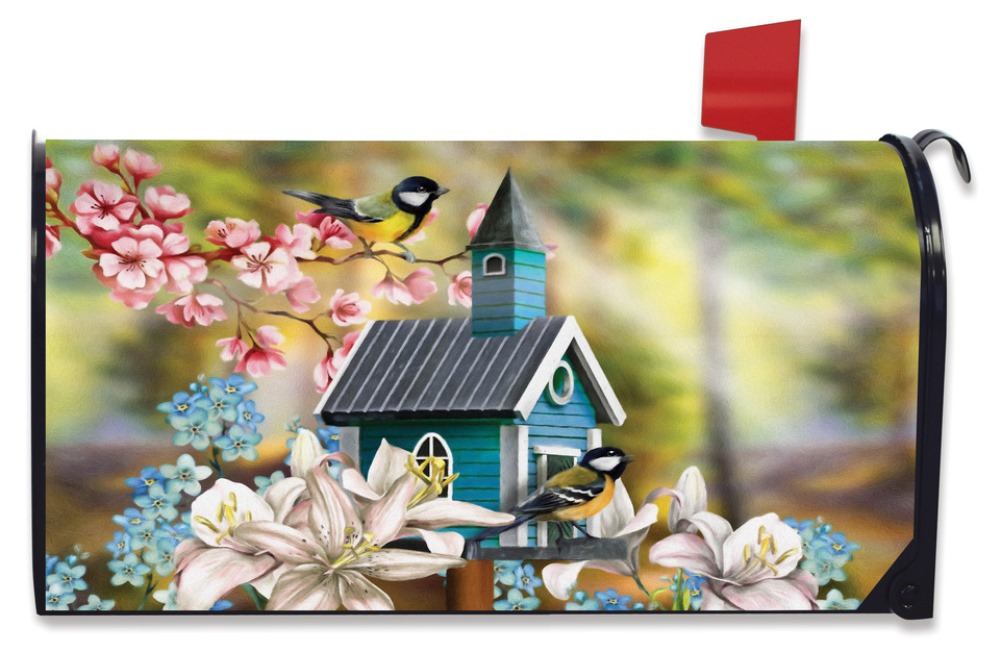Magnetic Mailbox Cover - Peaceful Birdhouse - 6.5in x 19in