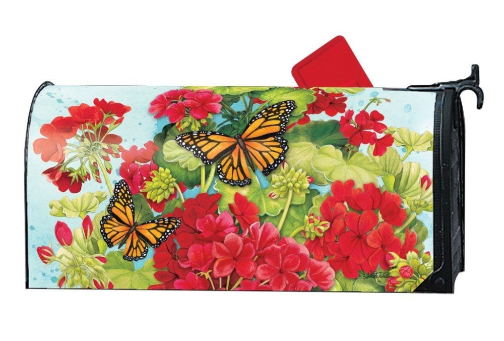 Magnetic Mailbox Cover - Red Geraniums - 6.5in x 19in