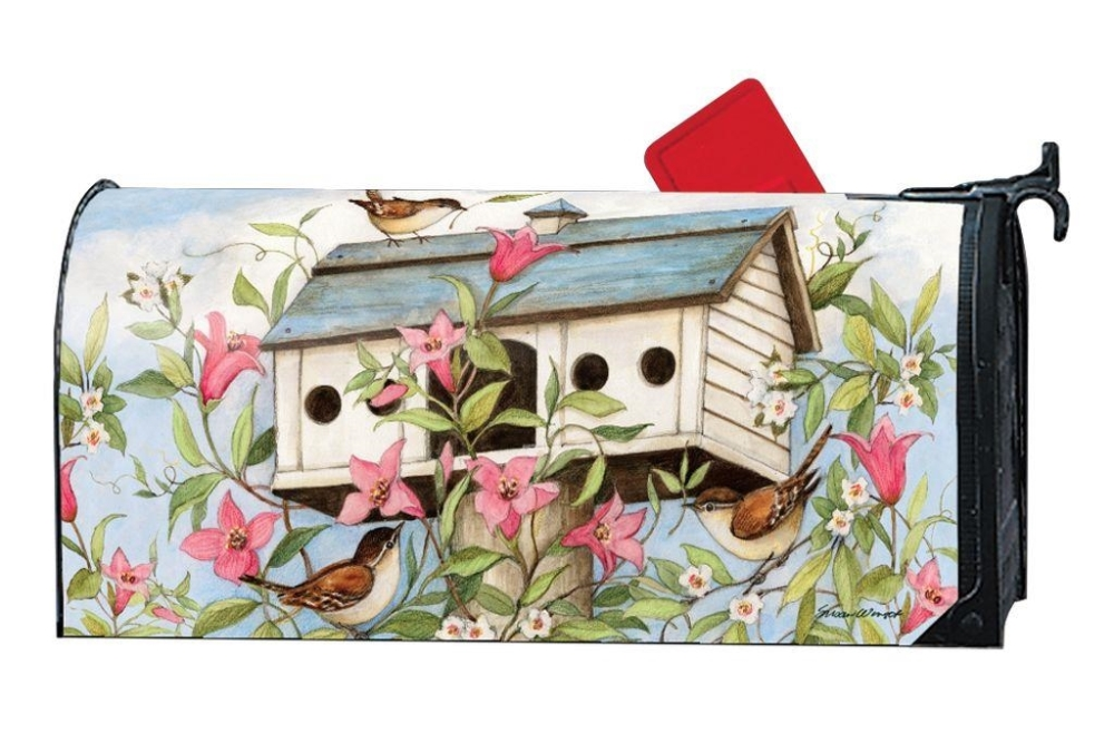 Magnetic Mailbox Cover - Spring Birdhouse - 6.5in x 19in