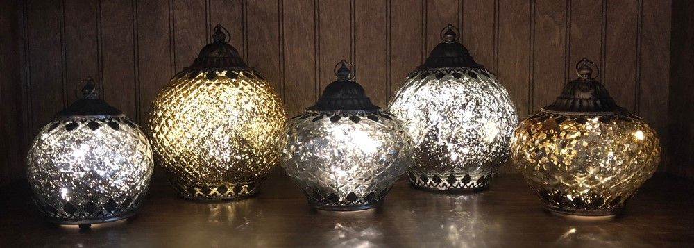 Mercury Glass Lantern - LED Gold - On/Off/Timer - 6in