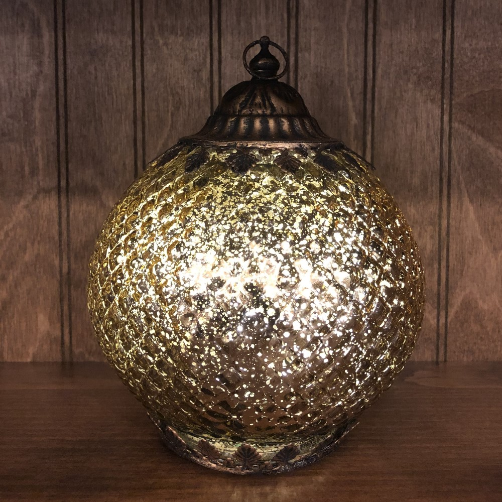 Mercury Glass Lantern - LED Gold - On/Off/Timer - 7in