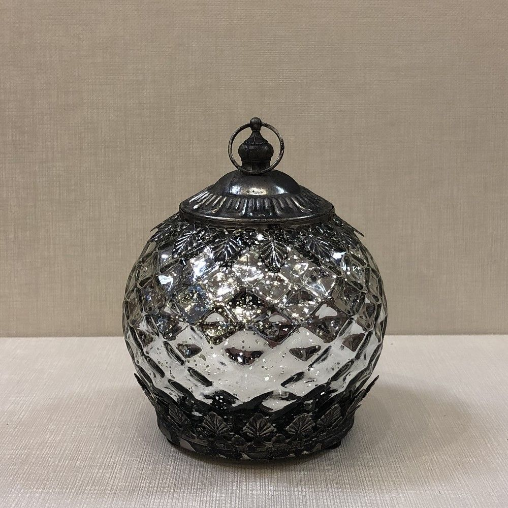 Mercury Glass Lantern - LED Silver - On/Off/Timer - 5.5in