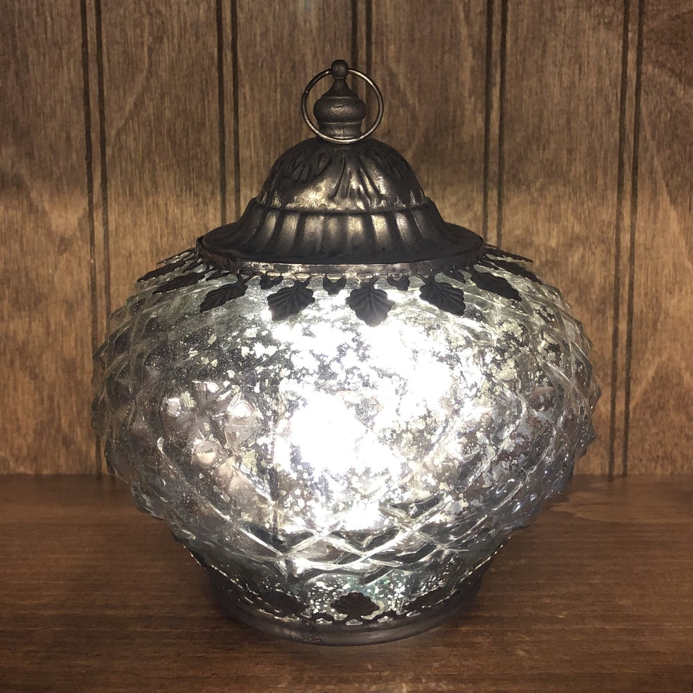 Mercury Glass Lantern - LED Silver - On/Off/Timer - 6in