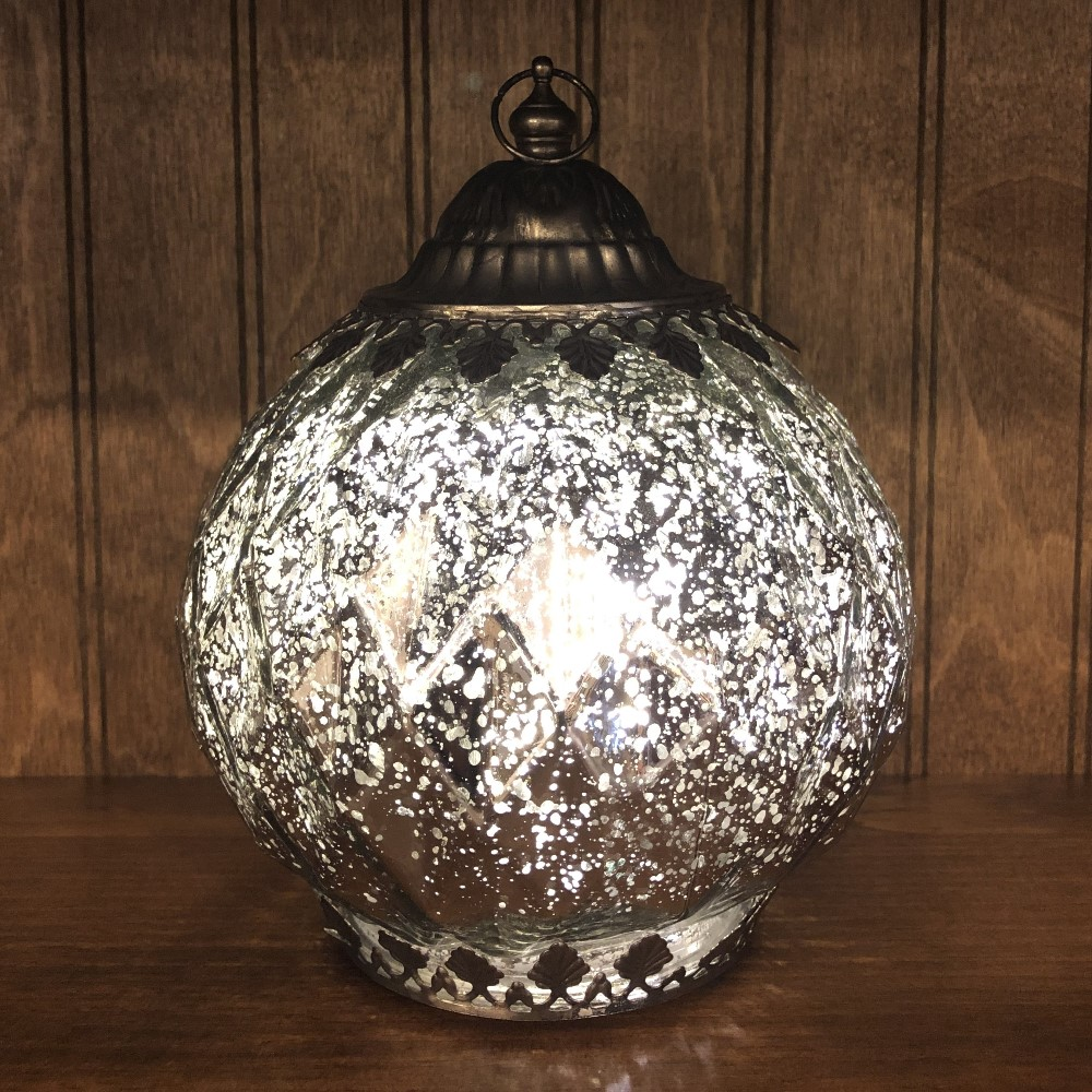 Mercury Glass Lantern - LED Silver - On/Off/Timer - 7.5in