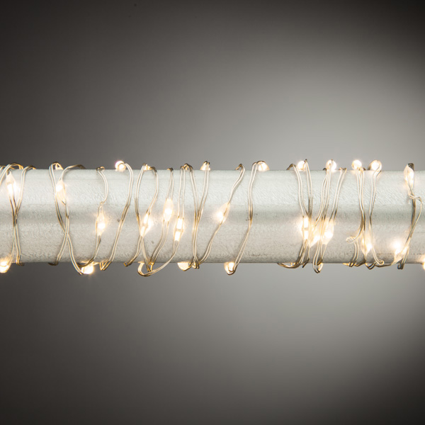 Micro LED Lights - Warm White LED - Battery/Silver Wire - 30 Lights