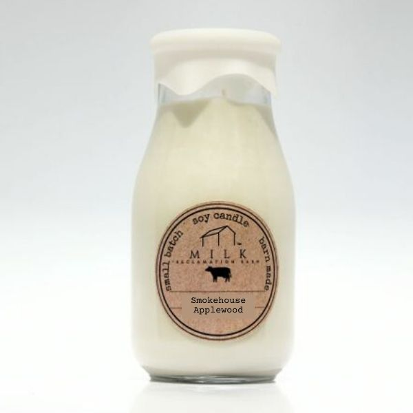 Milk Bottle Candle - Milk Reclamation Barn - Smokehouse Applewood