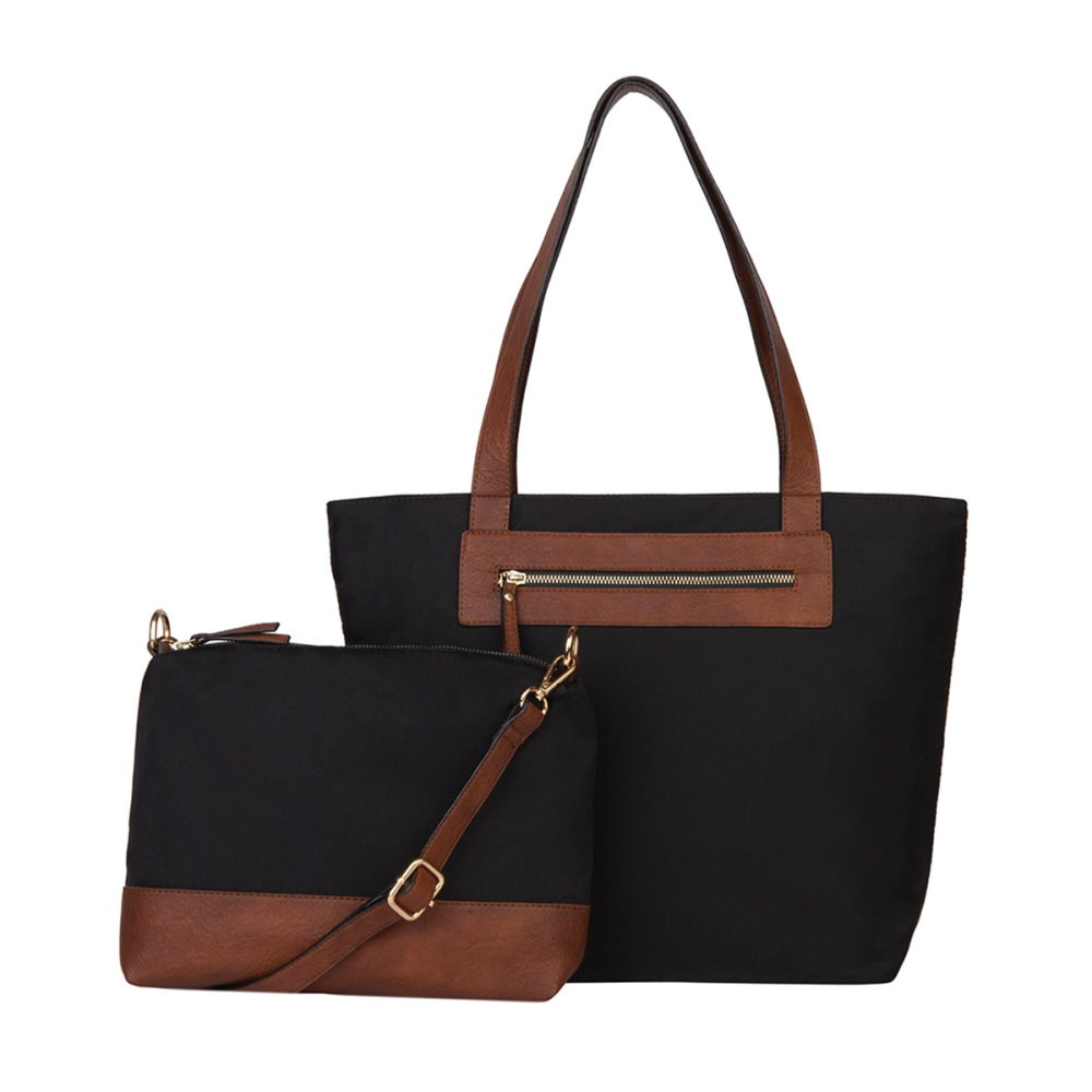 Mona B Tote with Bonus Bag - Katie - Black - S/2