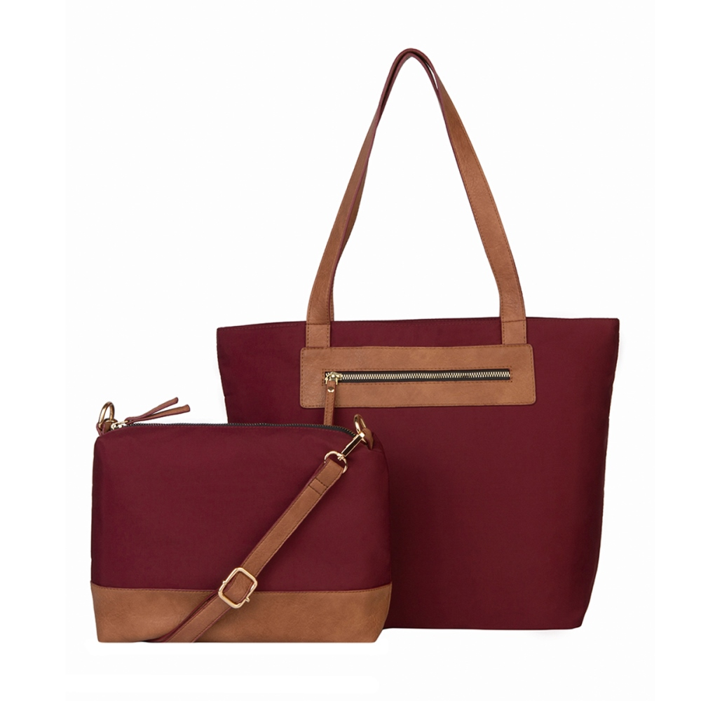 Mona B Tote with Bonus Bag - Katie - Wine - S/2
