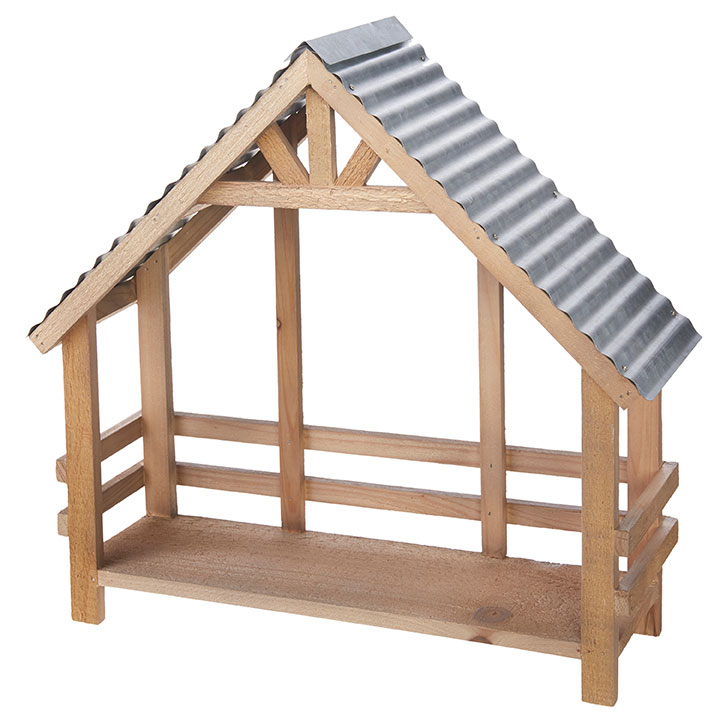 Nativity Creche - Natural Pine With Tin Roof - 16in