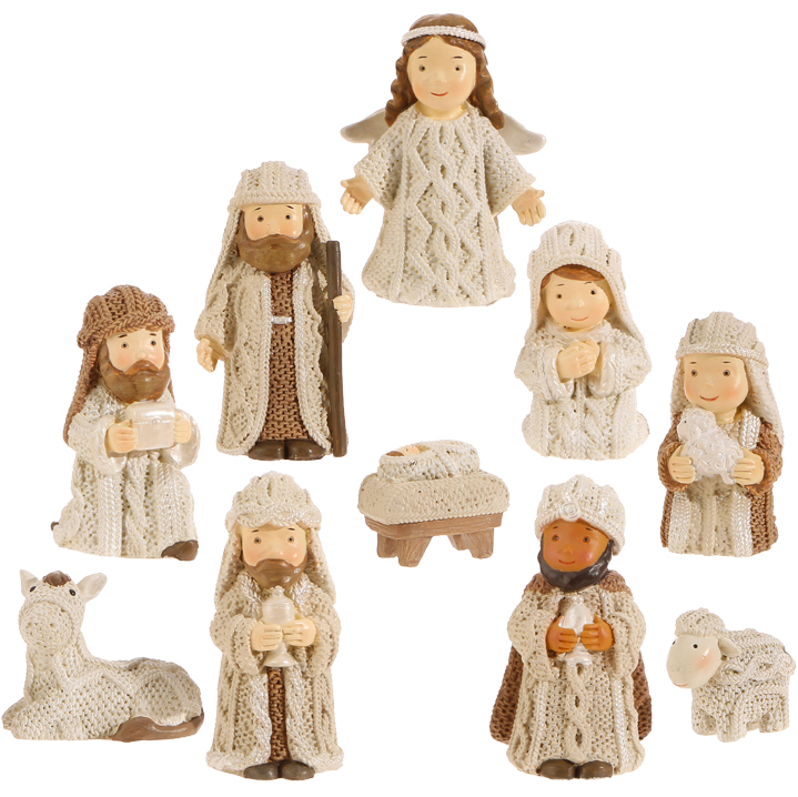 Nativity Set - Cream/Brown - Set of 10 - 2.5in