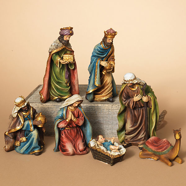 Nativity Set - Holy Family and 3 Wisemen - 7 Piece Set - 7in