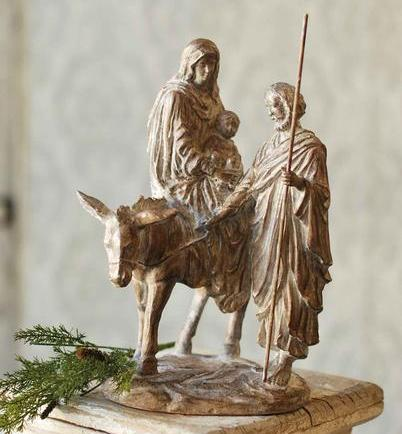Nativity Set - White Washed Bronze Holy Family - 14 Inch