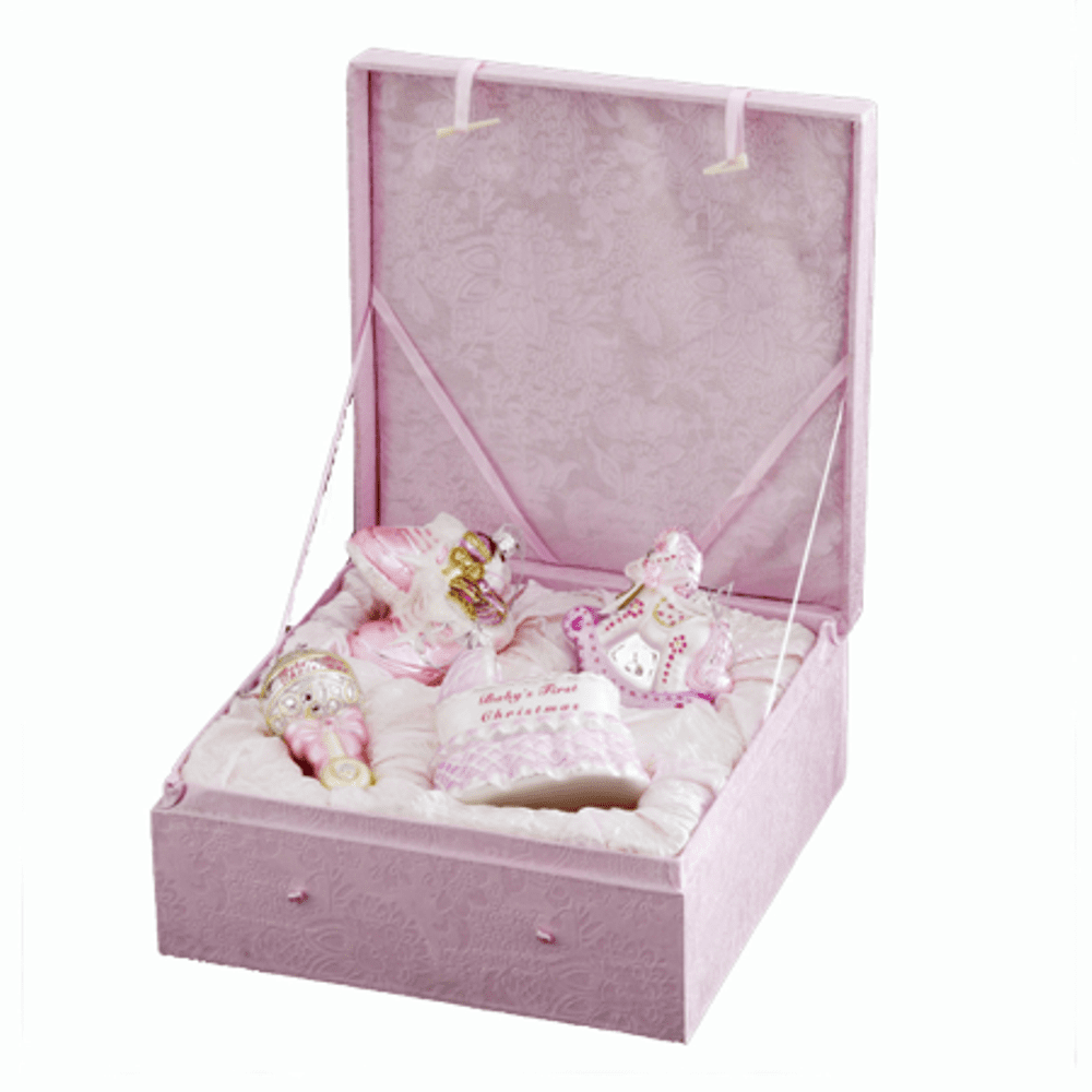 Glass Ornament - Baby Girl's First Christmas Boxed Set - Set of 4