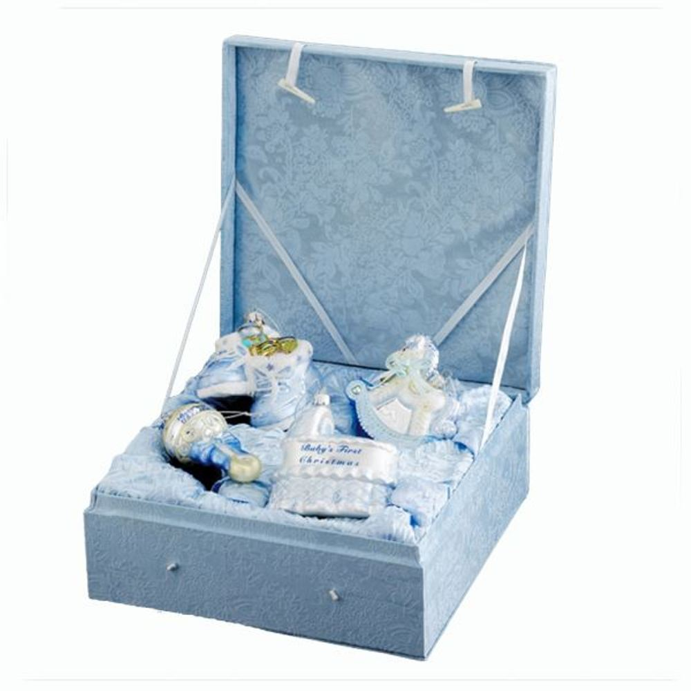 Glass Ornament - Baby Boy's First Christmas Boxed Set - Set of 4