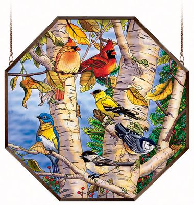 Stained Glass Suncatcher - Octagon Panel - Song Birds in Tree - 22in X 22in