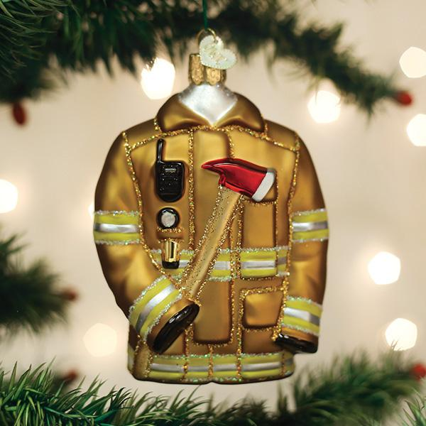 Old World Christmas Glass Ornament - Firefighters Coat