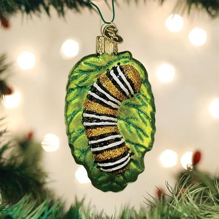 Old World Christmas Glass Ornament - Fuzzy Caterpillar