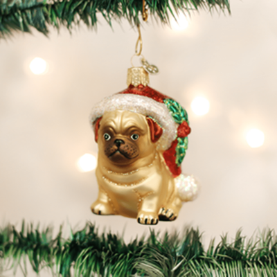 Old World Christmas Ornament - Holly Hat Pug