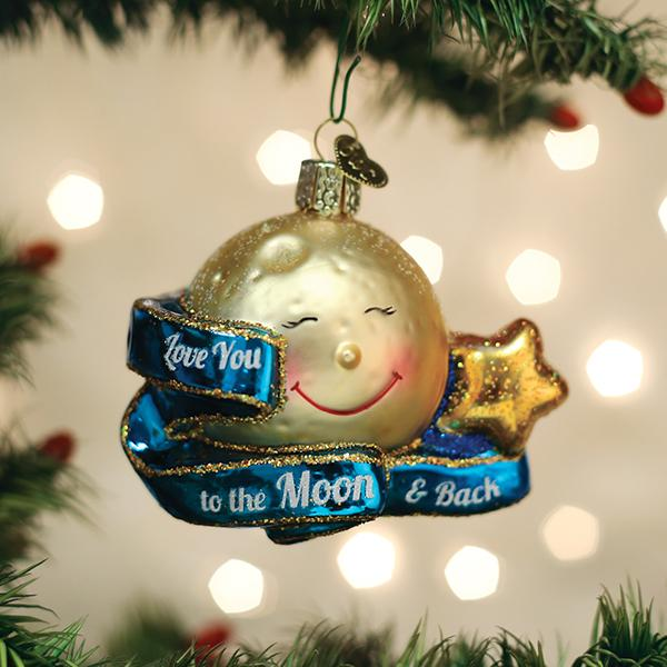 Old World Christmas Glass Ornament - Love You To The Moon & Back