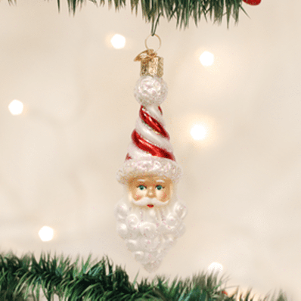 Old World Christmas Glass Ornament - Peppermint Twist Santa