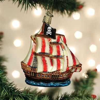 Old World Christmas Glass Ornament - Pirate Ship