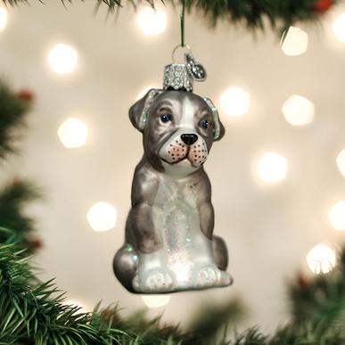 Old World Christmas Glass Ornament - Pitbull Pup