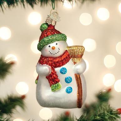 Old World Christmas Glass Ornament - Snowman with Broom
