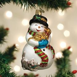 Old World Christmas Glass Ornament - Snowman with Playful Pets