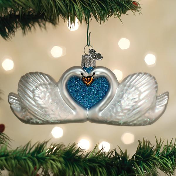 Old World Christmas Glass Ornament - Swans In Love