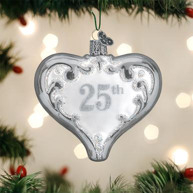 Old World Christmas Glass Ornament - 25th Anniversary Heart