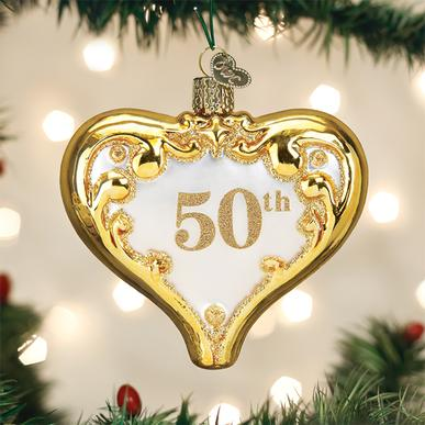 Old World Christmas Glass Ornament - 50th Anniversary Heart