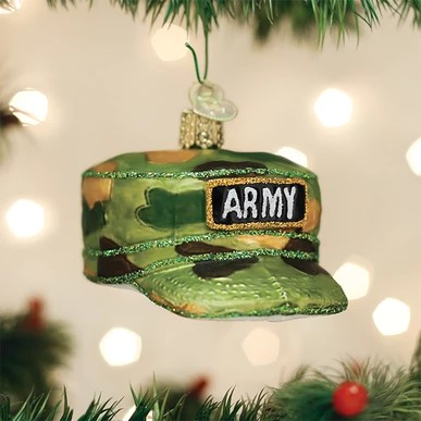 Old World Christmas Glass Ornament - Army Cap