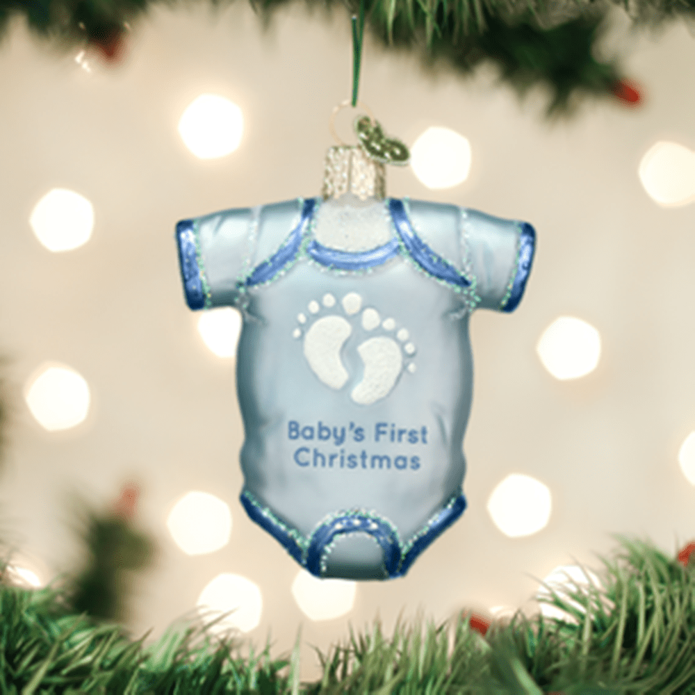 Old World Christmas Glass Ornament - Blue Baby Onesie