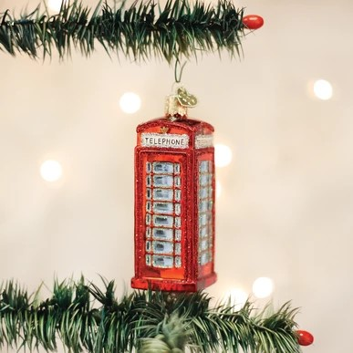 Old World Christmas Glass Ornament - English Phonebooth