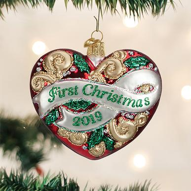 Old World Christmas Glass Ornament - First Christmas Heart 2019