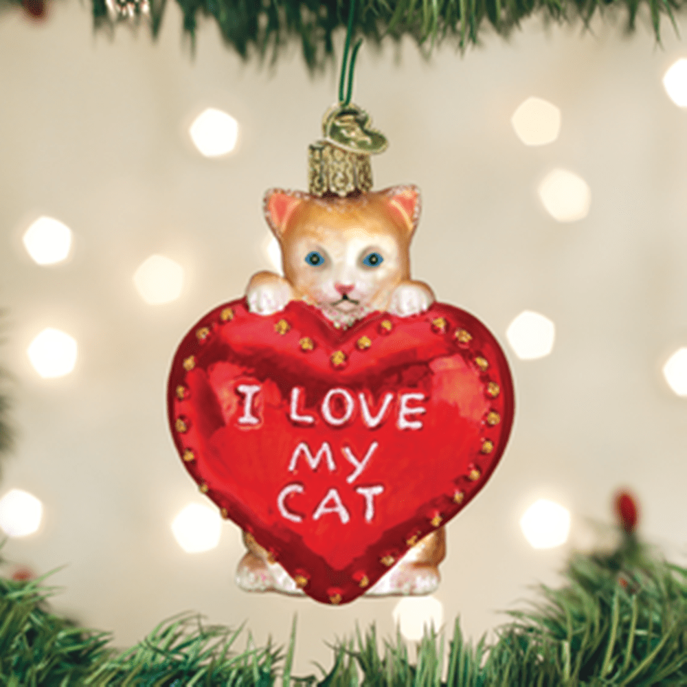 Old World Christmas Ornament - I Love My Cat