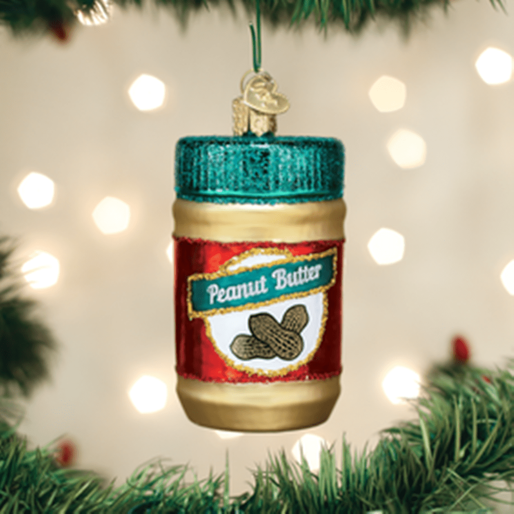 Old World Christmas Glass Ornament - Jar of Peanut Butter