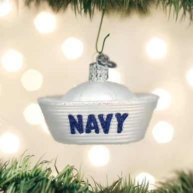 Old World Christmas Glass Ornament - Navy Cap