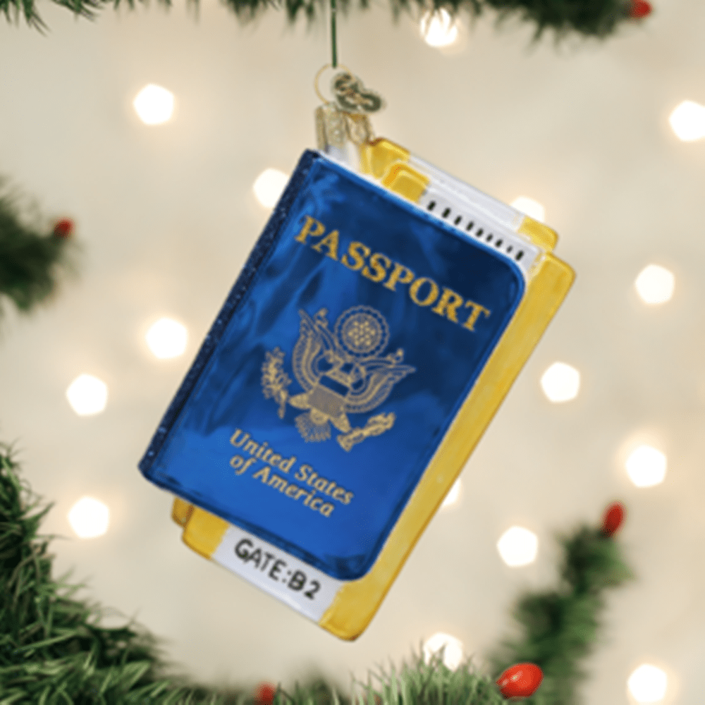 Old World Christmas Glass Ornament - Passport