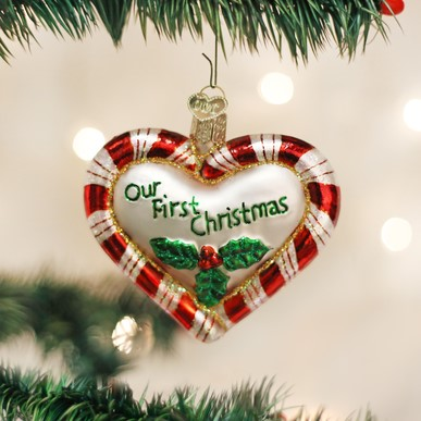 Old World Christmas Ornament - Peppermint Heart