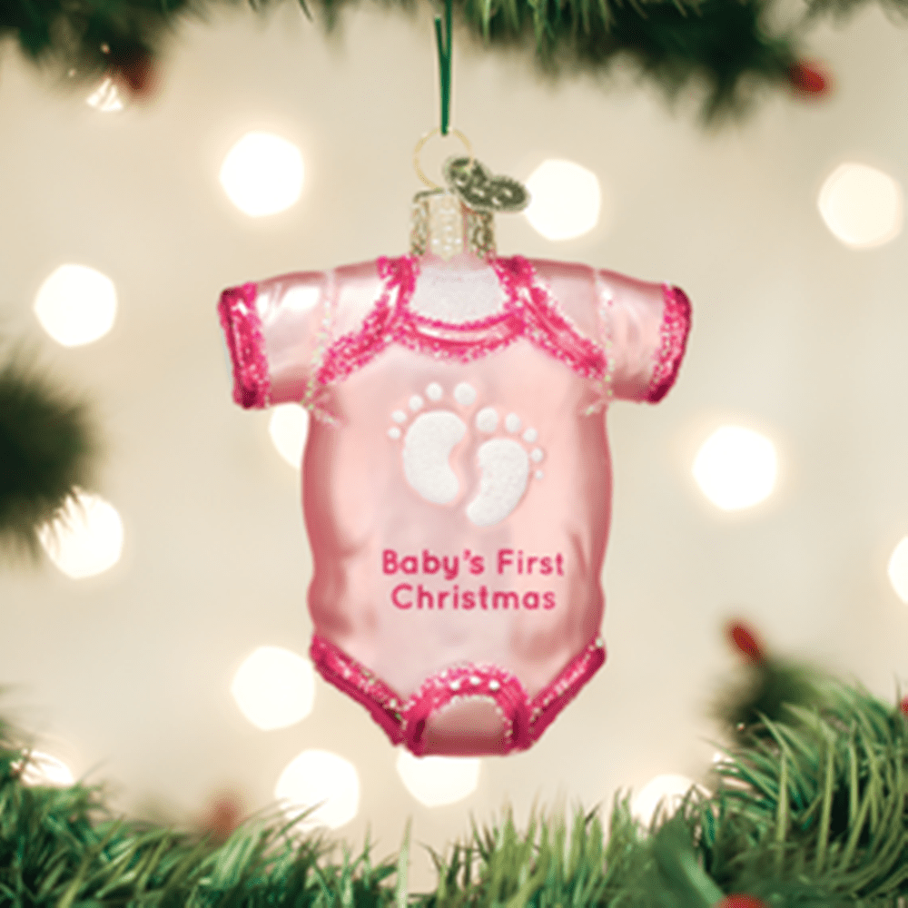 Old World Christmas Ornament - Pink Baby Onesie