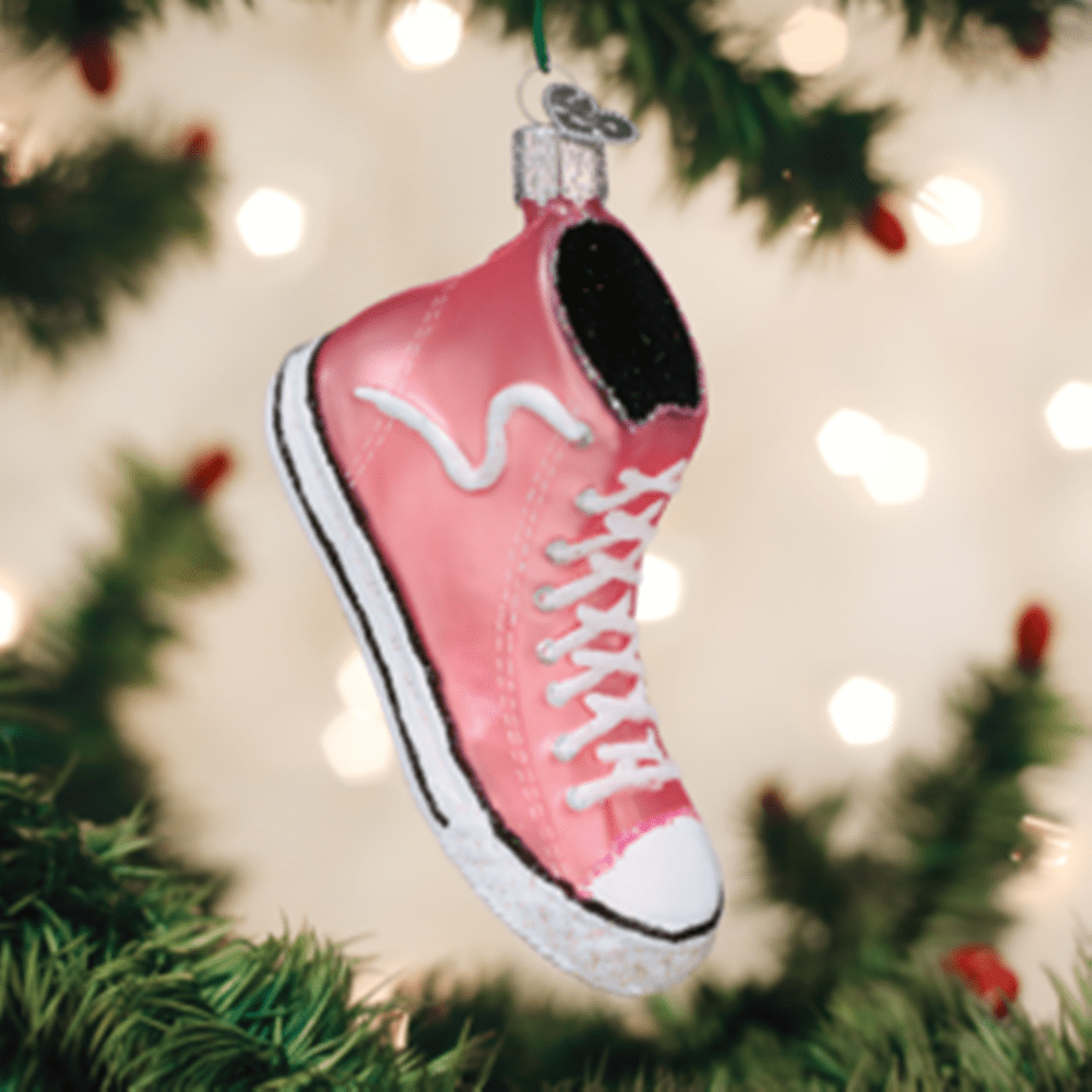 Old World Christmas Glass Ornament - Pink High Top Sneaker