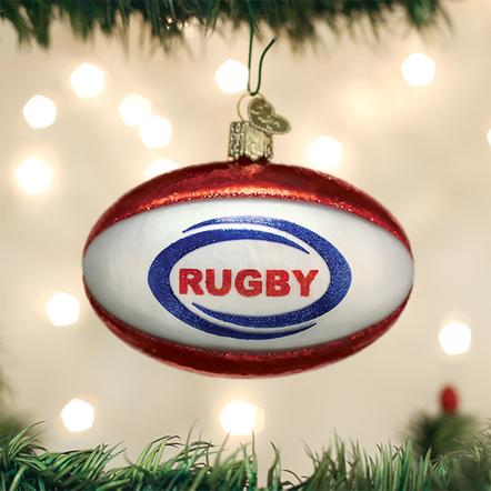 Old World Christmas Glass Ornament - Rugby Ball
